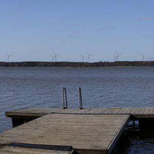 Brygga, vatten och vindkraftverk i bakgrunden.