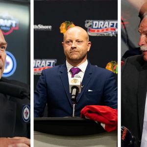 Chicago Blackhawksin, Florida Panthersin ja Winnipeg Jetsin johtohenkilöstöä.