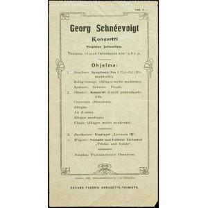 Konserttiohjelma vuodelta 1906. Georg Schnéevoigt johtaa Helsingin filharmonista orkesteria.