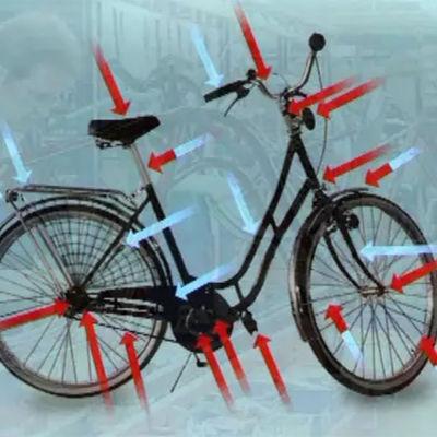 Polkupyörän eri osat nuolilla merkittyinä.