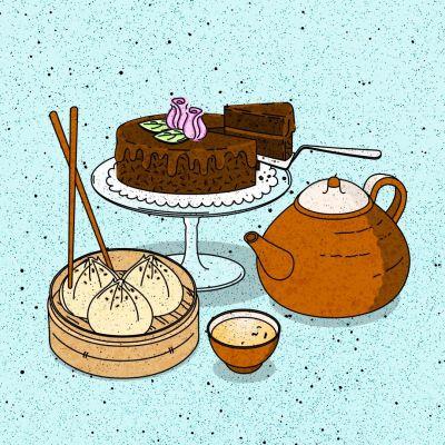 Piirroskuva, jossa vaaleansinisellä taustalla suklaakakku, teekannu ja -muki sekä dim sum –palloja.