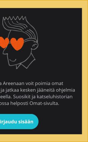 Kuvakaappaus Yle Areenan mobiilisovelluksesta: Kirjautumalla voit lisätä suosikkiohjelmiasi.