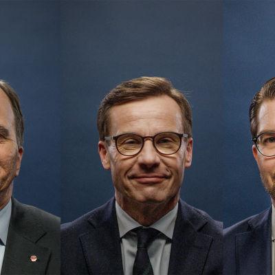 Stefan Löfven, Ulf Kristersson och Jimmie Åkesson, alla kostymklädda, fotograferade från bröstkorgen upp och leende mot mörkblå bakgrund.