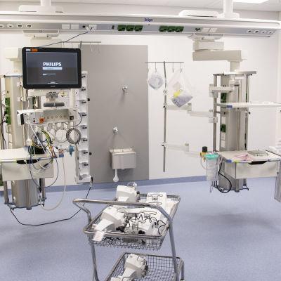 uuden kainuun keskussairaalan teho-osaston yksityishuone.