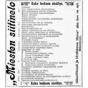 Miesten siitinelo -kirjan mainos sisällysluetteloineen Uusi Suometar-lehdessä 24.5.1893