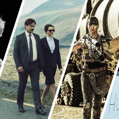 Ett kollage av bilder från Hymyilevä mies, The Lobster, Mad Max: Fury Road och Arrival.