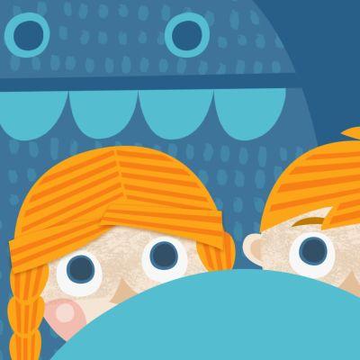 Piirretty kuva, jossa kaksi lasta ja kiltti mörkö