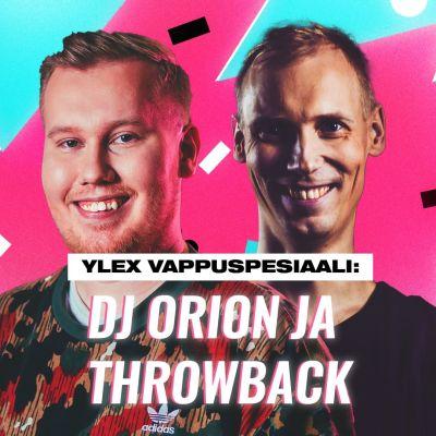 YleX:n Jani Kareinen ja DJ Orion pinkki-sinistä taustaa vasten.
