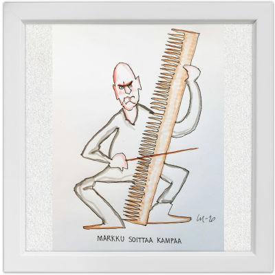 Lassi Rajamaan piirros viola da gamban soittaja Markku Luolajan-Mikkolasta.