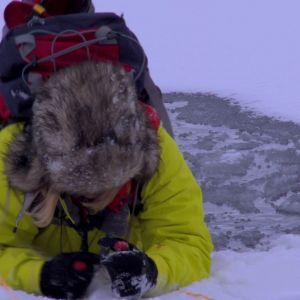 Med dubbarna drar sig Elin tillräckligt långt upp på isen för att den säkert ska bära