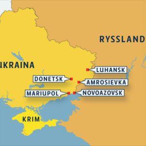 Karta över Ukraina och Ryssland