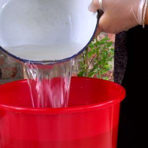 Häll vatten och fixermedel i ämbaret