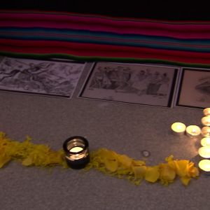 Caminon från dörren till altaret.