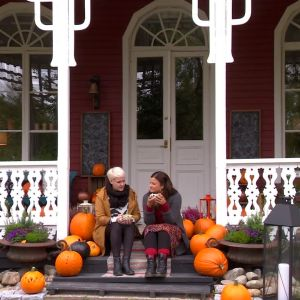 Johanna och Camilla dricker te bland pumpor.