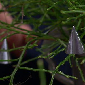 Owe hänger silverklockor i blåbärsriset.