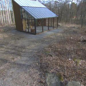 Trädgården kring växthuset på Strömsö på våren innan grönskan