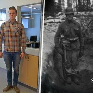 """Rasmus Haataja ja SA-kuva-arkistosta valittu """"Veli Poutanen""""-hahmo"""