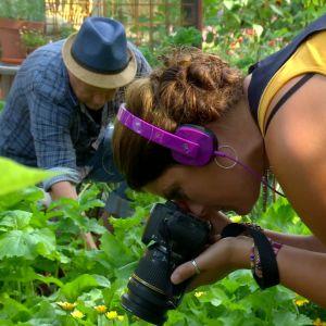 Camilla Forsén-Ström fotograferar växterna i Potagere-trädgården