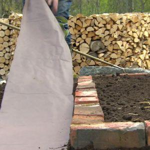 Fiberduk placeras i gången vid potagere-trädgården