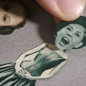 Glatt kvinnoansikte urklippt ur gammal tidning