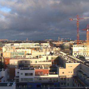 Näkymä yli Helsingin joulukuussa 2015.