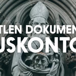 Battlen dokumentti: uskonto, taustakuvana Johanneksenkirkon fasadin patsas.