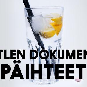 Kuva drinkistä ja pilleristä sekä teksti Battlen dokumentit: päihteet