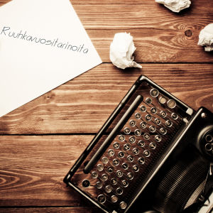 Kirjoituskone, paperia ja kynä