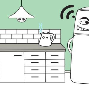 Ett tecknat kylskåp som kommunicerar med andra apparater i ett kök.