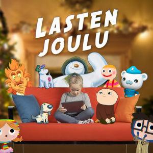 Ylen lasten joulu: Tyttö istuu sohvalla hahmojen ympäröimänä