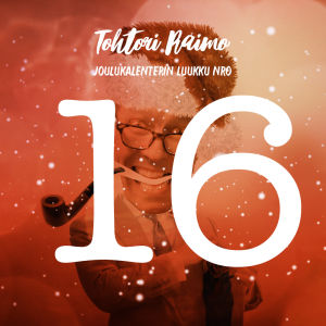 Joulukalenterin luukku 16, numero ja lumihiutaleita, taustalla hahmo.