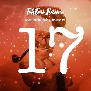 Joulukalenterin luukku 17, numero ja lumihiutaleita, taustalla hahmo.