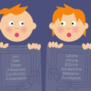 Grafisk bild med pojke samt flicka som håller upp skyltar med förnamn.