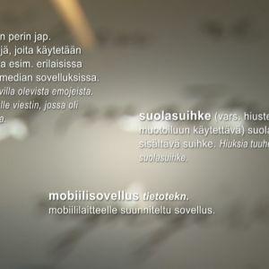 Kielitoimiston sananselitykset sanoista emoji, suolasuihke ja mobiilisovellus