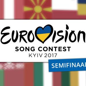 Kuvassa lukee Eurovision Song Contest Kyiv 2017, Semifinaali 2. Tekstiä ympäröi osallistuvien maiden liput.