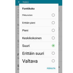 Näyttökuva Samsung S4 puhelimen fontin koon vaihtamisesta.