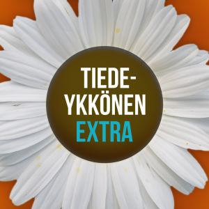 Tiedeykkönen Extra mainoskuva. Päivänkakkara missä teksi Tiedeykkönen Extra.
