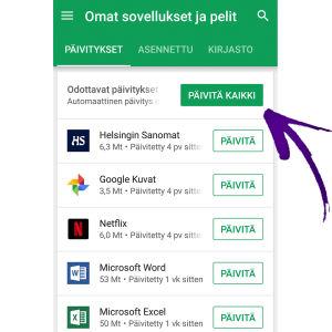 Näyttökuva Google Play, jossa ohjelmien päivitysvalikot. Nuoli osoittaa kohtaan Päivitä kaikki