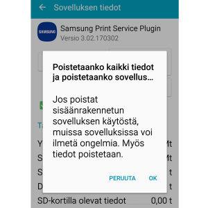 Näyttökuva Google Play, jossa poistetaan esiasennettu ohjelma. Ilmoitusteksti: Jos poistat sisäänrakennetun sovelluksen käytöstä, muissa sovelluksissa voi ilmetä ongelmia. Myös tiedot poistetaan.