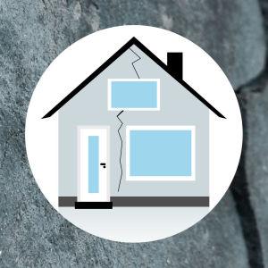 Grafiikka: Talon julkisivu, jossa on halkeama. Taustalla haljennutta betonia.