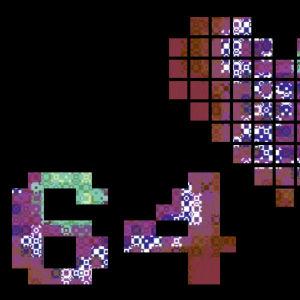 Sydän ja C64 -teksti pikselimäisenä.
