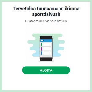 Kuvakaappaus Yle Urheilun sivuilta. Teksti: tervetutuloa tuunaamaan oma sporttisivusi.