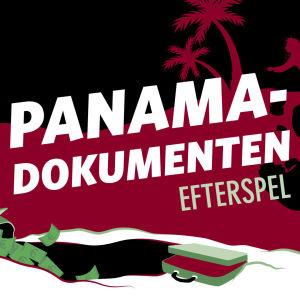 En stiliserad bild i svart, rött och grönt där figurer springer omkring med pengasäckar på ryggen på en strand.