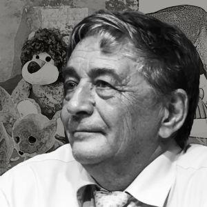 Kirjailija Eduard Uspenski. Taustalla krokotiili Gena ystävineen ja Fedja-setä.