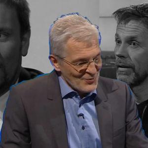 Kollaasi: Paavo Arhinmäki ja Jari Sarasvuo haastattelutilanteissa taustalla. Etualalla haastattelija Sakari Kilpelä.