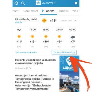 Uutisvahti-sovelluksen Läheltä-toiminto nuoli osoittaa kohtaan tilaa sääilmoitus