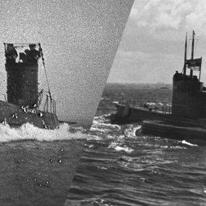 Mustavalkoinen kuva sukellusveneistä