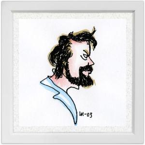 Lassi Rajamaan piirros säveltäjä Usko Meriläisestä.
