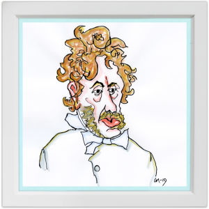 Lassi Rajamaan piirros säveltäjä Fredrik Paciuksesta.