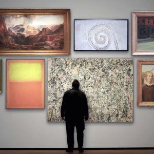 Taidehistorioitsija Waldemar Januszczak (selin) katselee kuuluisia amerikkalaisia maalauksia